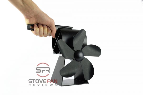 You can use the plastic handle to lift the working SmartFan stove fan