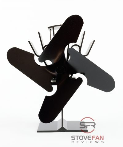 Four blades change the airfow cone of the Valiant 4 Blade log burner fan